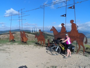 The metal statures installed by the electricity company at the summit of Alto del Perdon
